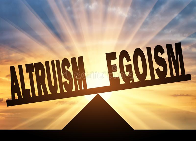 Word altruism is in priority over word egoism on scales royalty free stock photo