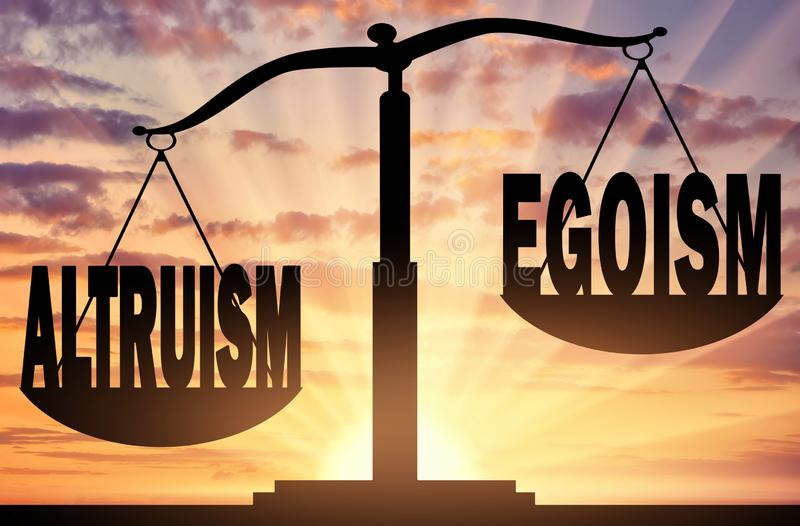 Word altruism takes precedence over the word egoism stock photo