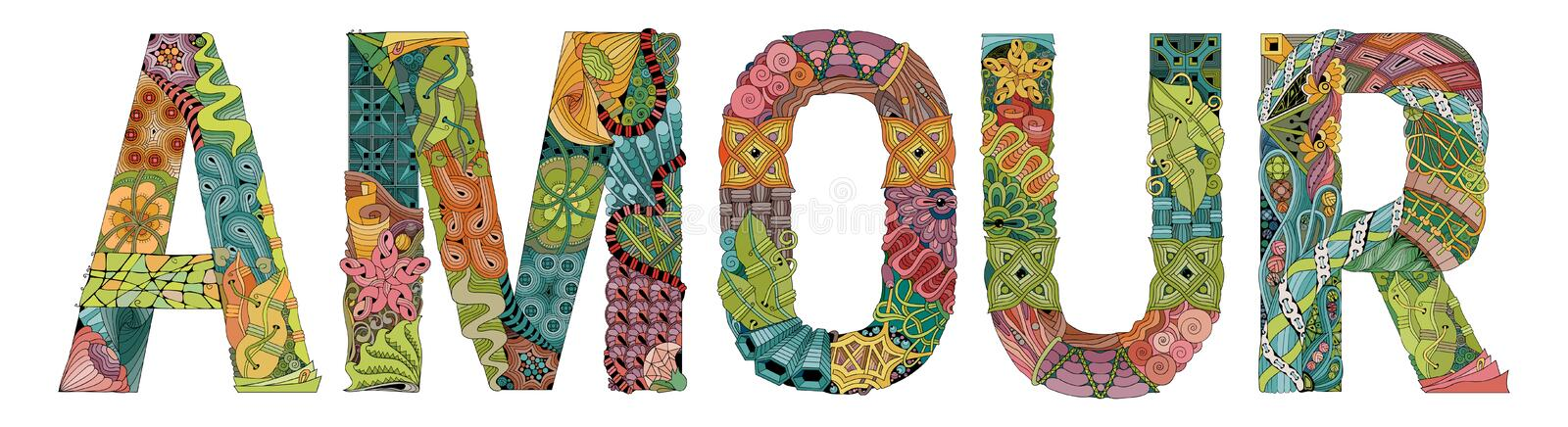 Word AMOUR for coloring. Vector decorative zentangle object. Hand-painted art design. Hand drawn illustration word AMOUR for t-shirt vector illustration