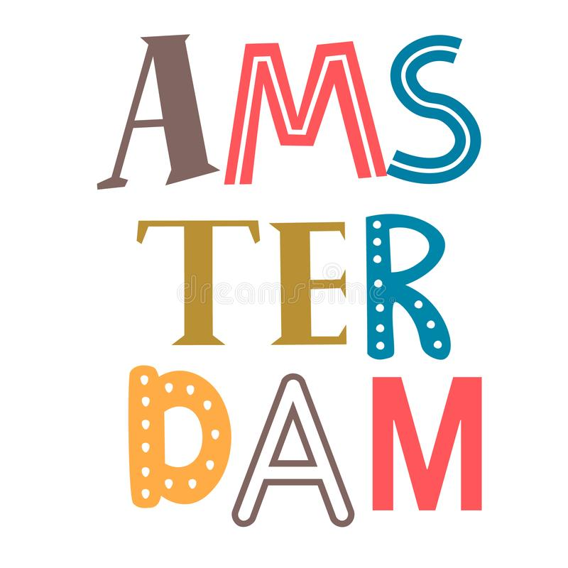 Word Amsterdam flat illustration on white. Background. City travel decorative series stock illustration