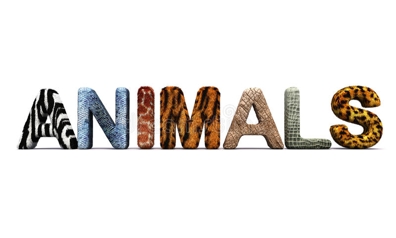 Word ANIMALS With Fur Letters. Stock Illustration - Illustration ...