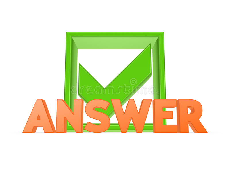 Download Word ANSWER and tick mark. stock image. Image of info - 31575833