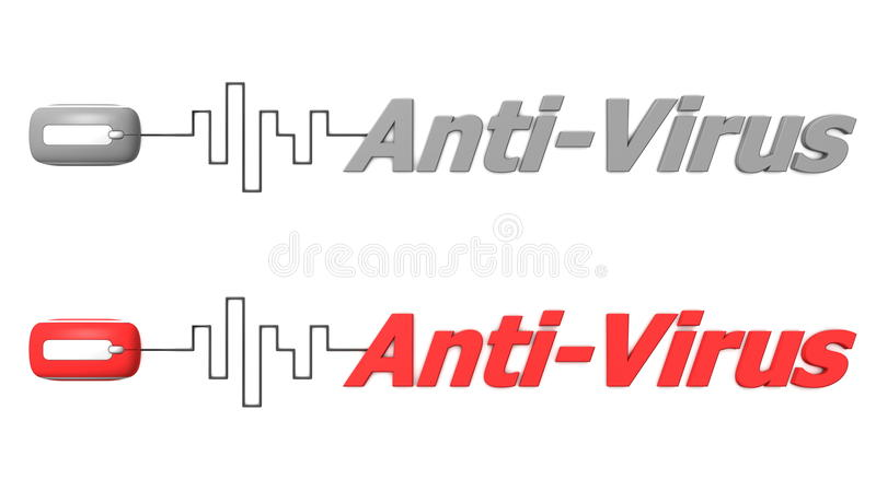 Word Anti-Virus Connected to a Mouse vector illustration