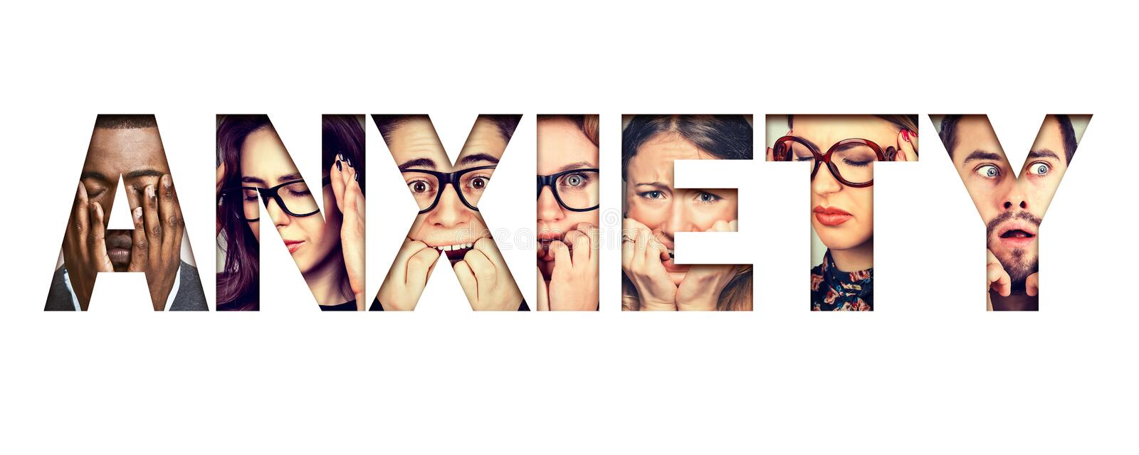Word anxiety composed of anxious stressed faces of men and women stock photo
