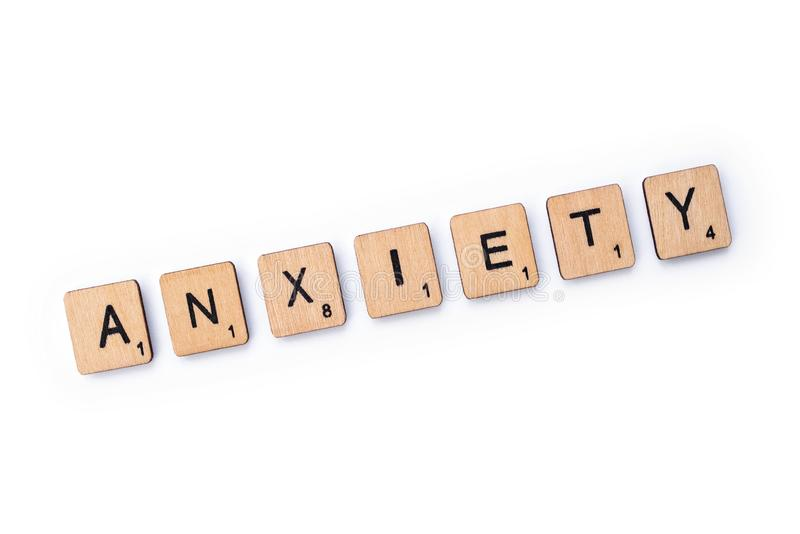 The word ANXIETY stock images
