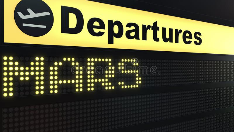 MARS word appearing on airport departure board. Space travel related conceptual 3D rendering royalty free illustration