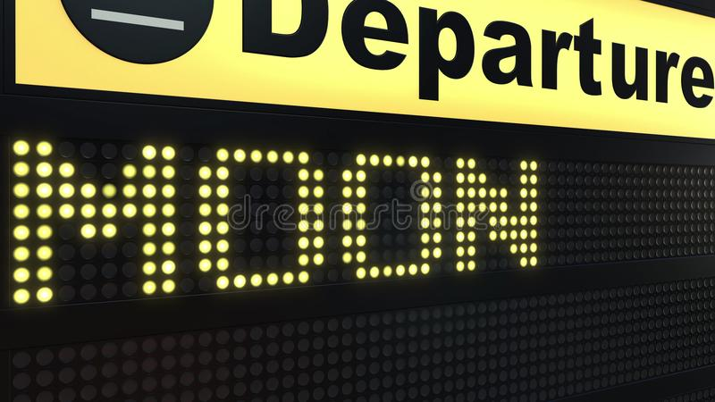 MOON word appearing on airport departure board. Space travel related conceptual 3D rendering stock illustration