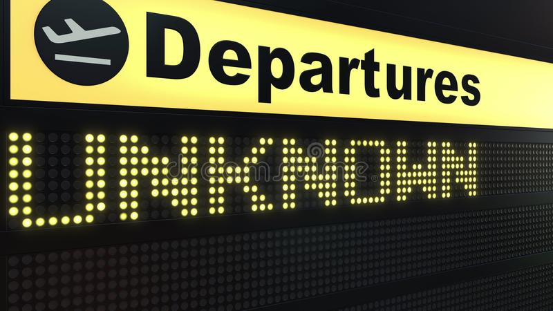 UNKNOWN word appearing on airport departure board. Conceptual 3D rendering royalty free illustration