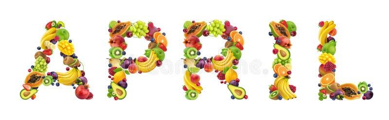Word april dat van verschillende vruchten en bessen, fruitdoopvont wordt gemaakt die op witte achtergrond wordt geïsoleerd stock foto's