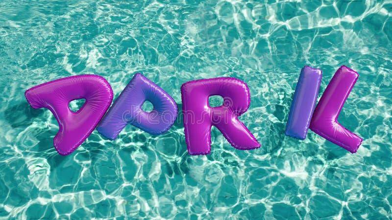 Word ` APRIL ` vormde opblaasbaar zwemt ring die in een verfrissend blauw zwembad drijven vector illustratie