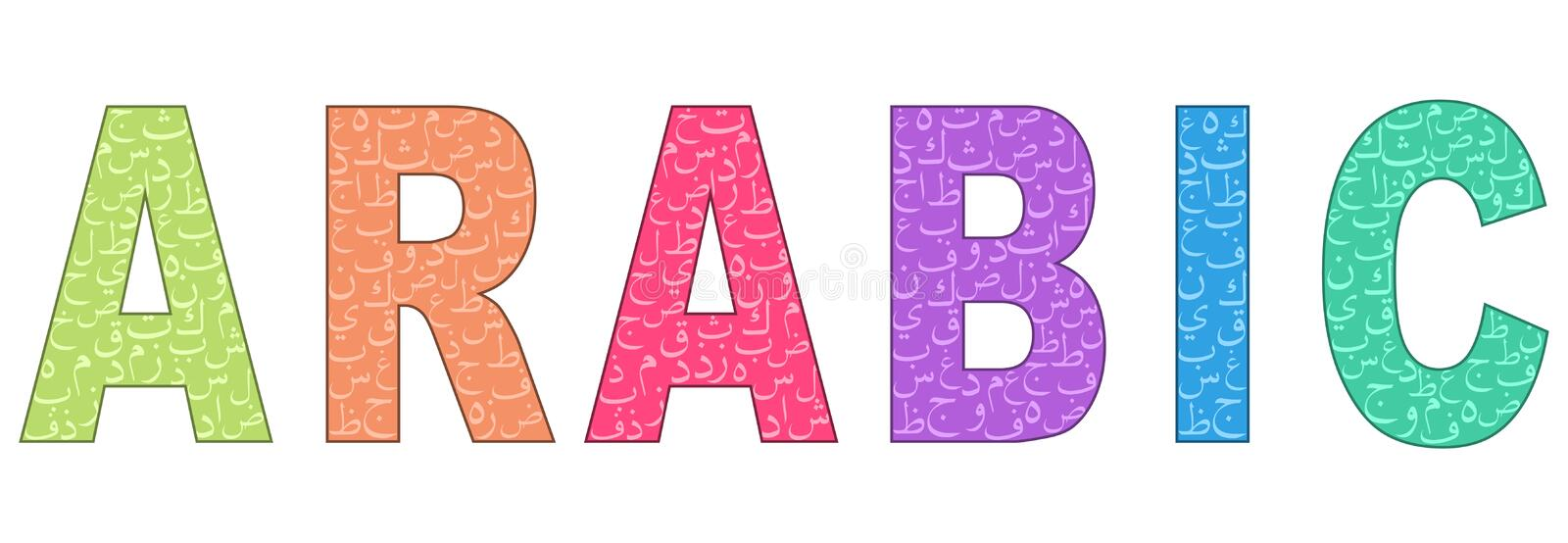 Word `ARABIC` Written In Different Colors Stock Vector ...