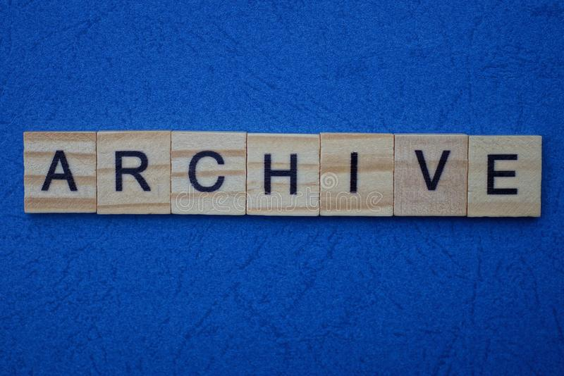 Word archive made from brown wooden letters royalty free stock images