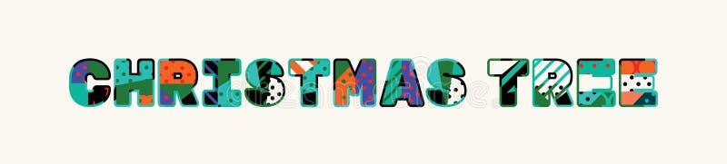 Word Art Illustration van het kerstboomconcept royalty-vrije illustratie