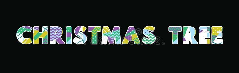Word Art Illustration van het kerstboomconcept stock illustratie