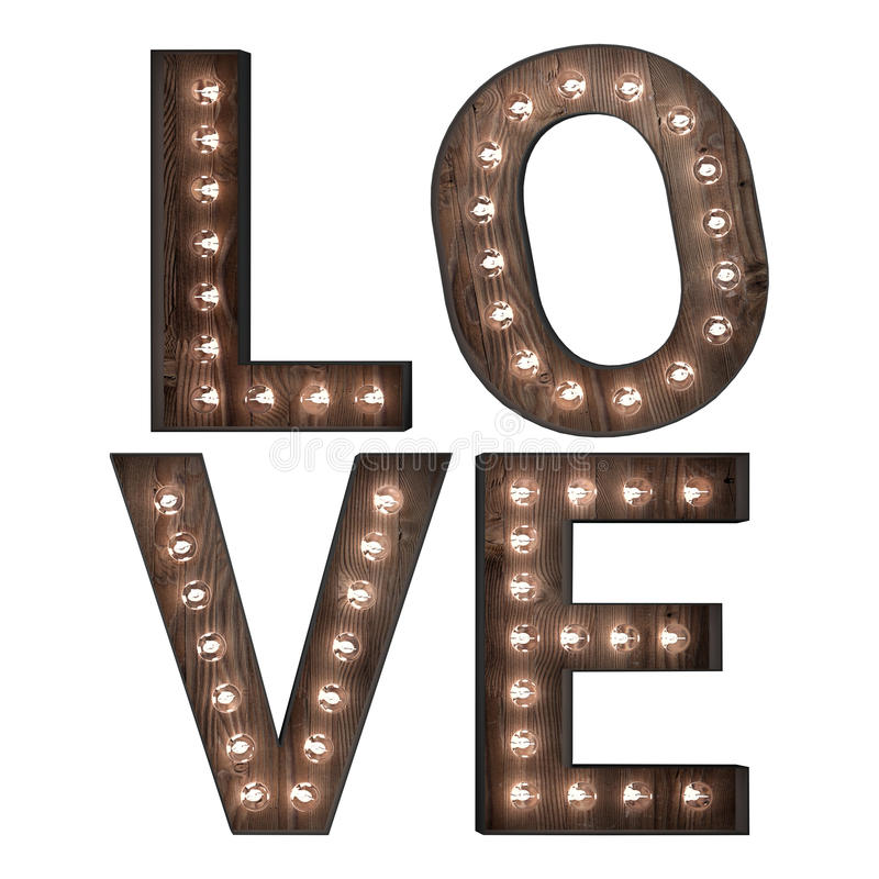 Free Word Art Love In Lights Royalty Free Stock Photos - 54042618