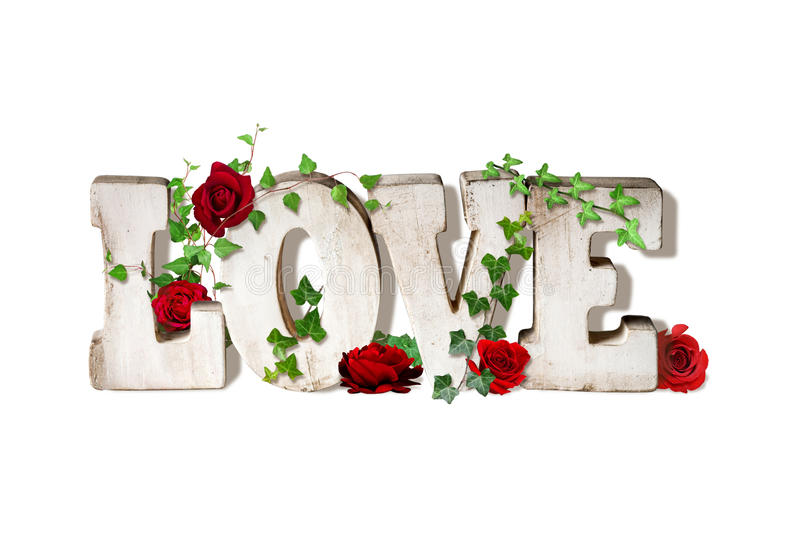Word Art Love with Roses royalty free illustration