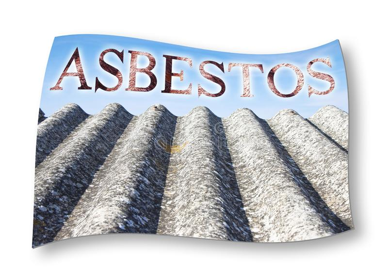 The word Asbestoswritten with letters having asbestos graphics background stock photo