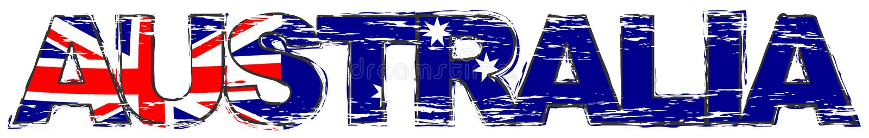 Word AUSTRALIA with Australian national flag under it, distressed grunge look stock illustration
