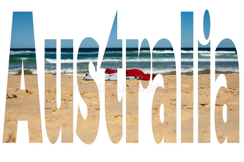 The word Australia filled with iconic Australian image - clothes stripped off at Birdie Beach Central Coast NSW nudist beach. Best use for advertising stock photos