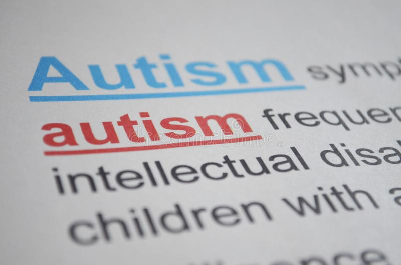 Word AUTISM , close up. Newspaper article with detailed word AUTISM, closeup royalty free stock image