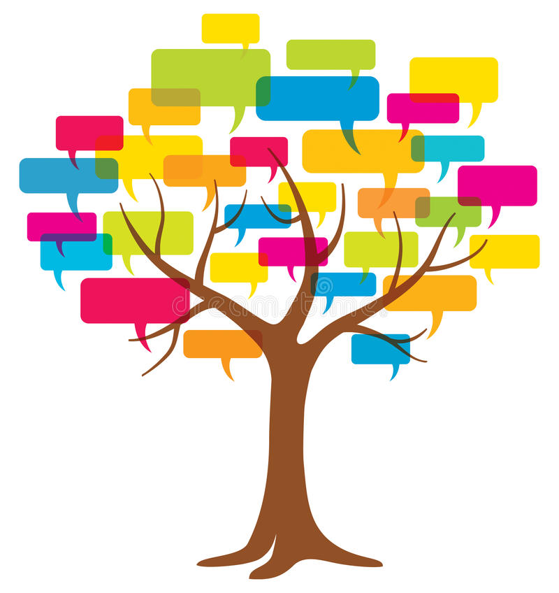 Word Balloon Tree. A tree with word balloons logo icon illustration