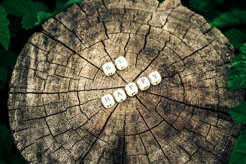 Word be happy of alphabet beads on a tree stump surface in the forest. Word be happy of wooden alphabet beads on a tree stump surface in the forest stock images