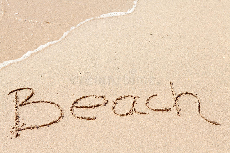 Download Word Beach Written On The Beach Stock Photo - Image of write, wave: 15531204