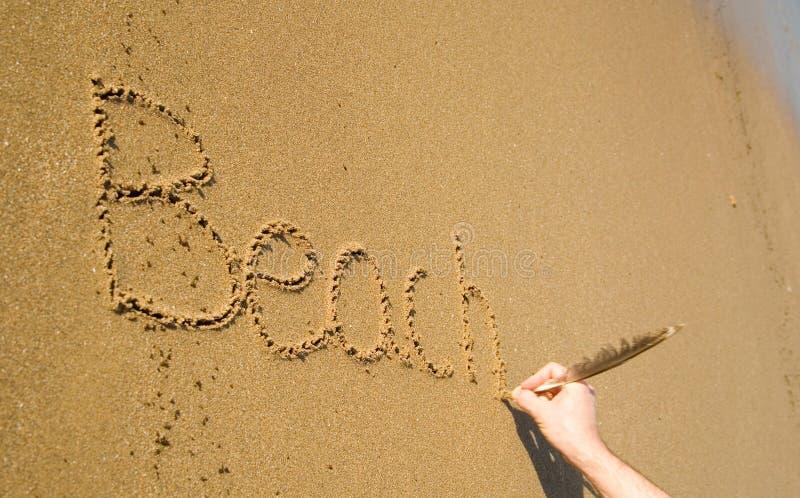 Word Beach Written On The Sand Stock Photos