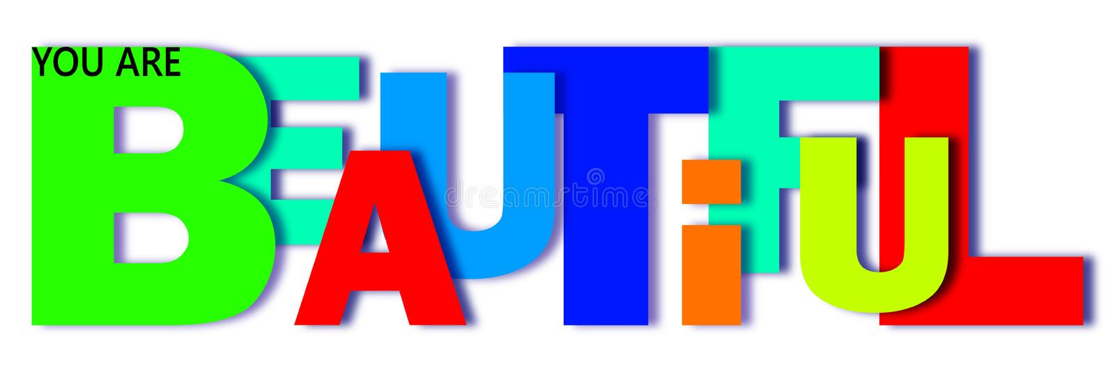 The word beautiful is written in letters of different colors and different sizes. vector illustration