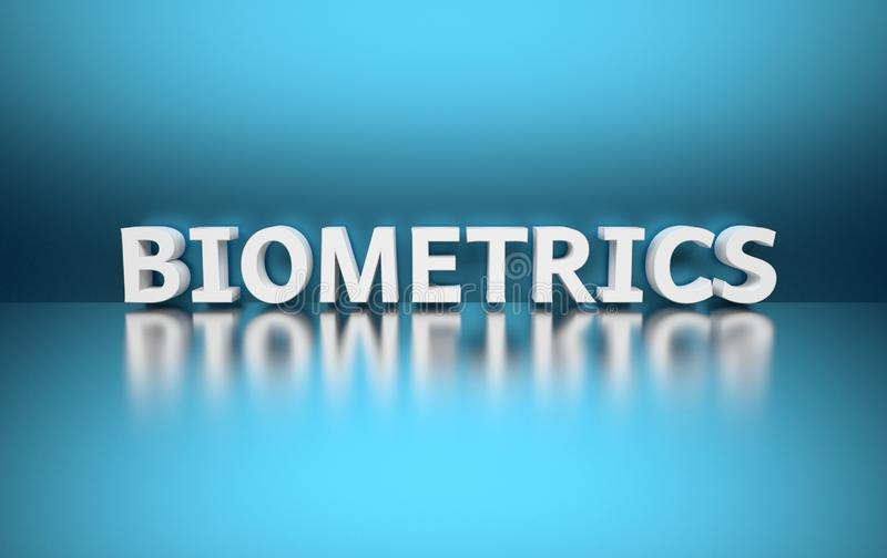 Word Biometrics. Written in large bold white letters and placed on blue background over reflective surface. 3d illustration vector illustration