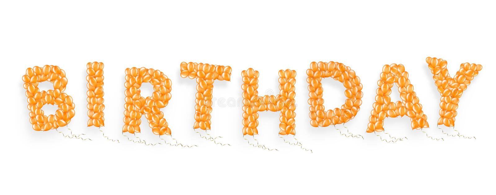 Word Birthday made of flying helium balloon with ribbons, element of decorations. For parties, isolated on white background with clipping path. 3D illustration stock illustration