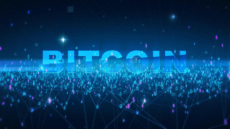 Word bitcoin Fintech technology and Blockchain network concept , Distributed ledger technology, Distributed connection royalty free illustration