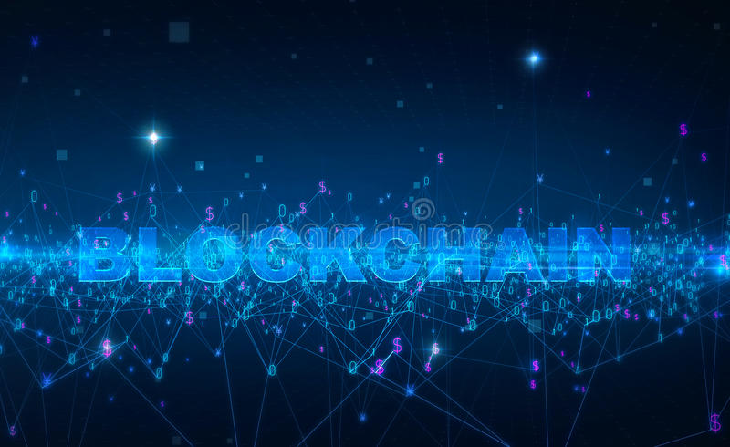 Word blockchain Fintech technology and Blockchain network concept , Distributed ledger technology, Distributed stock illustration