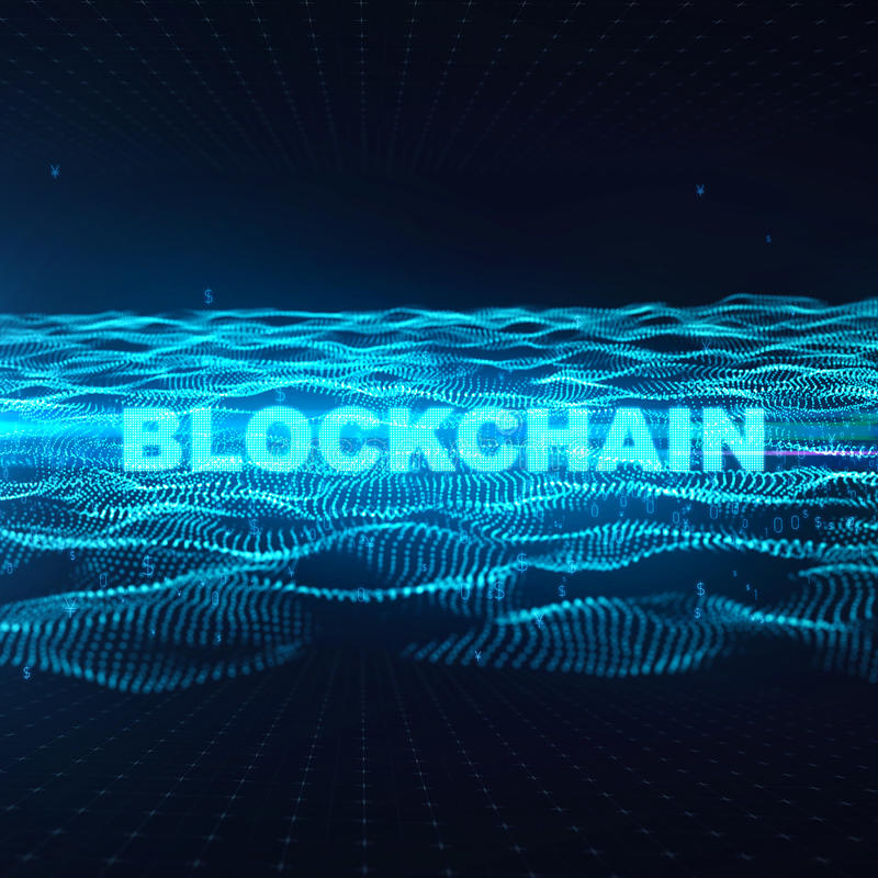 Word blockchain Fintech technology and Blockchain network concept , Distributed ledger technology, Distributed royalty free illustration