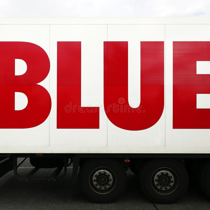 Word blue on lorry or truck stock photos