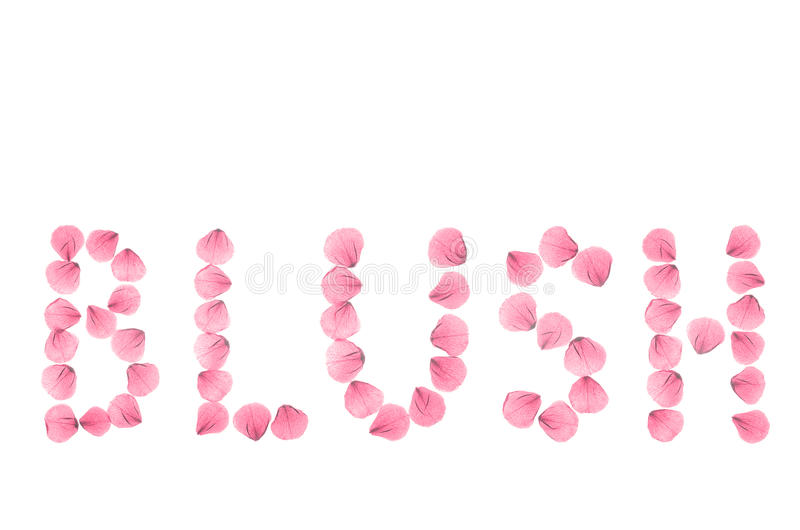 Word BLUSH arranged from real dry rose petals. royalty free stock photos