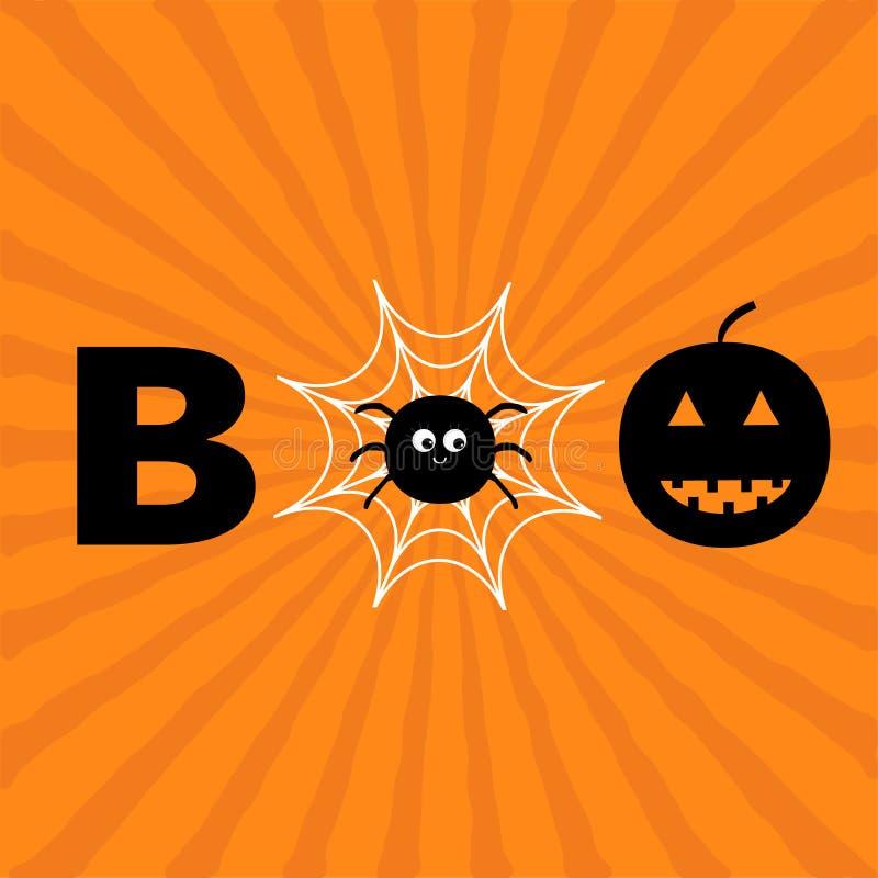 Word BOE-GEROEPtekst met het glimlachen van droevig zwart pompoensilhouet royalty-vrije illustratie