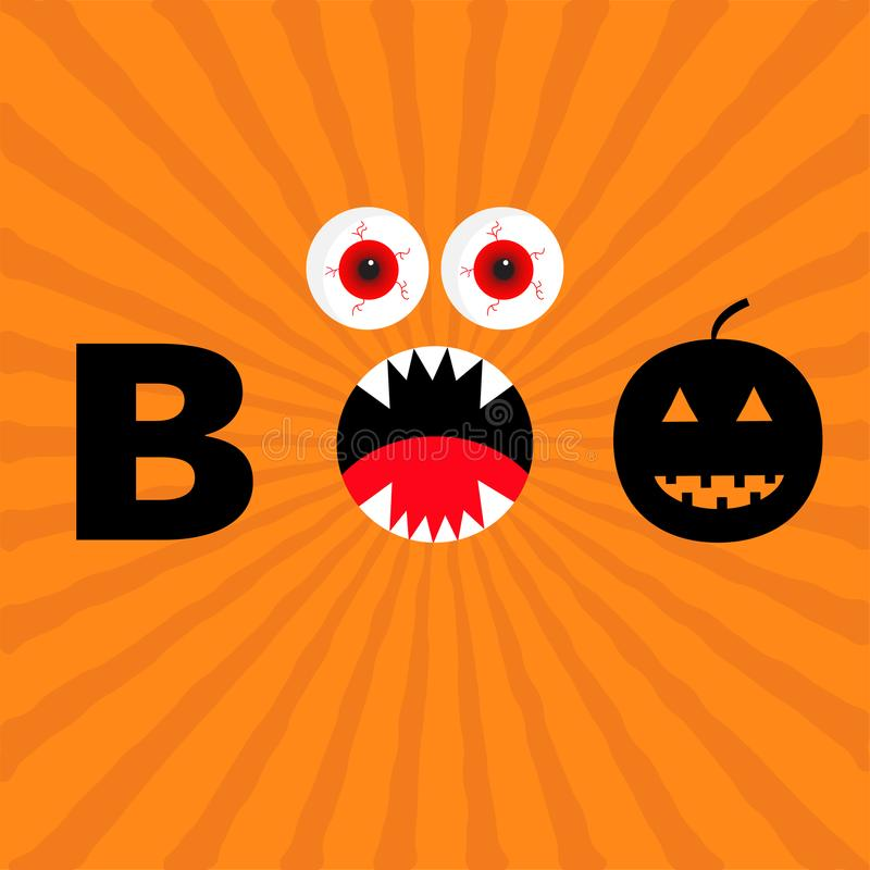 Word BOO text with smiling sad black pumpkin silhouette. Angry screaming mouth fangs, tongue. Red eyes. Evil eyeballs. Happy Hallo royalty free illustration