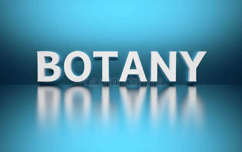 Word Botany. Written in large bold white letters and placed on blue background over reflective surface. 3d illustration vector illustration
