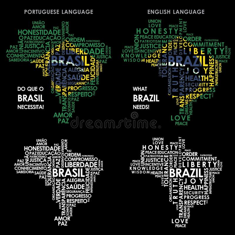 Word Brazil map formed by words necessary to the country stock illustration
