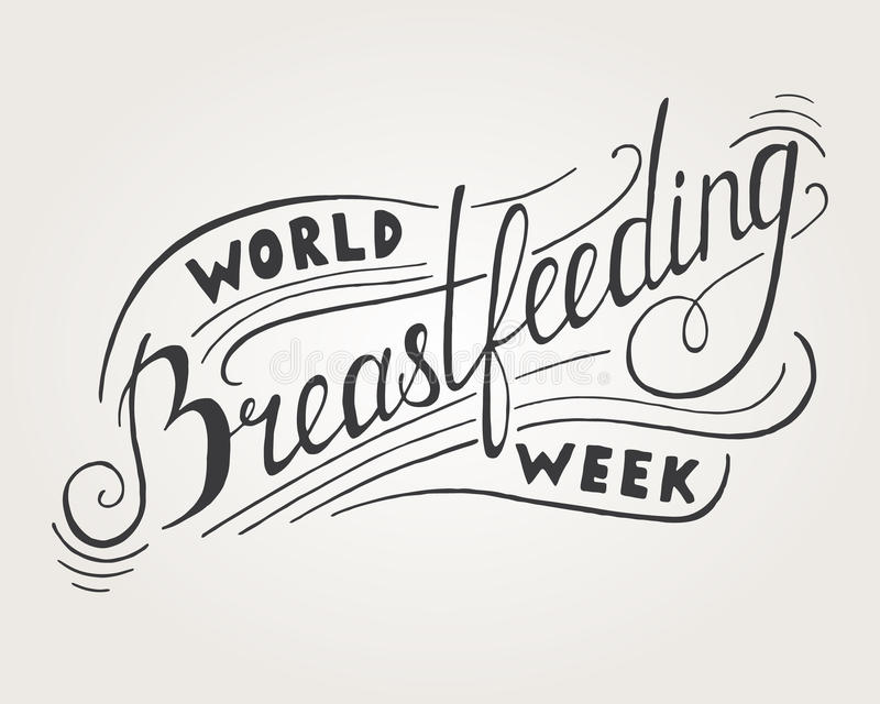 Word Breastfeeding Week Lettering. On gray background royalty free illustration