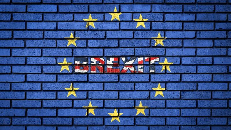Word BREXIT dans les couleurs du drapeau BRITANNIQUE ? l'int?rieur des ?toiles d'UE sur le mur de briques bleu illustration stock