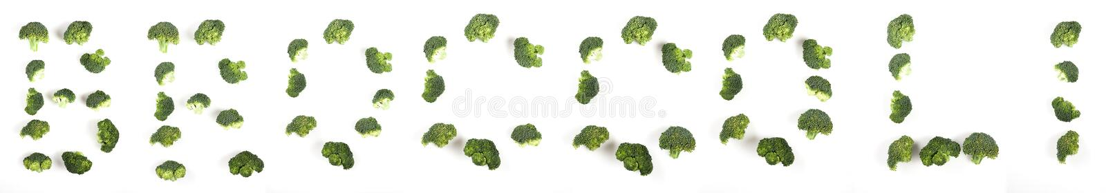 Word broccoli made from broccoli pieces. royalty free stock photo