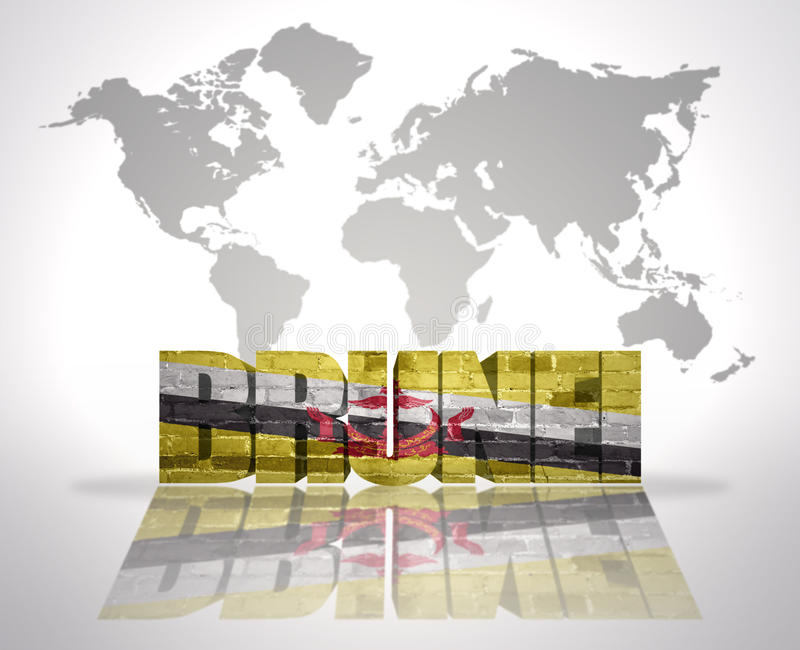 Word Brunei On A World Map Background Stock Illustration