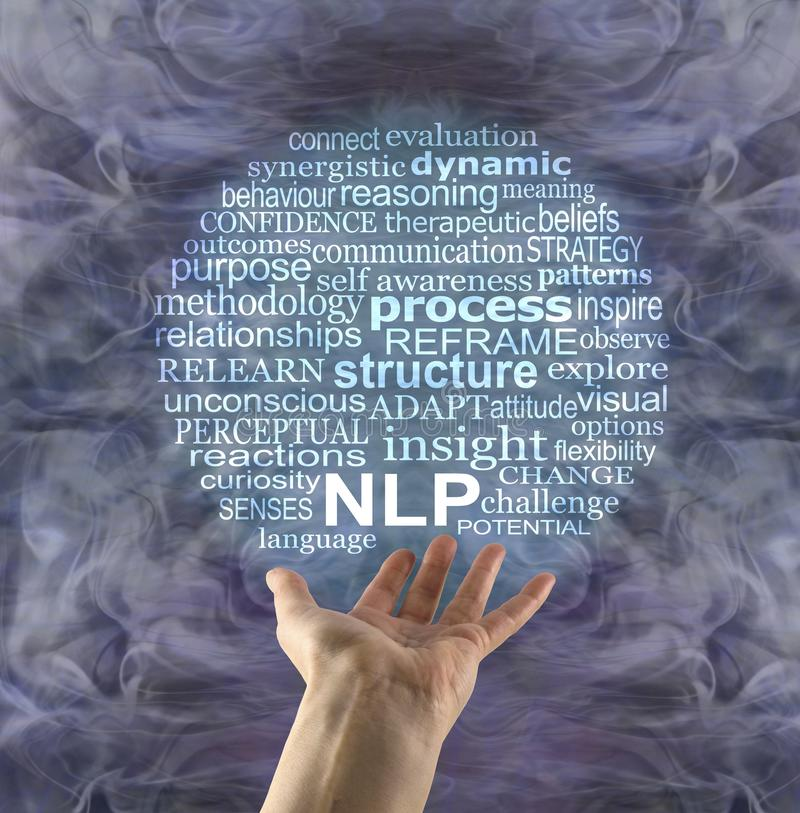 Word Bubble associated with Neuro Linguistic Programming. Female hand palm up beneath an NLP word cloud with a silver and turquoise gaseous energy formation in stock images
