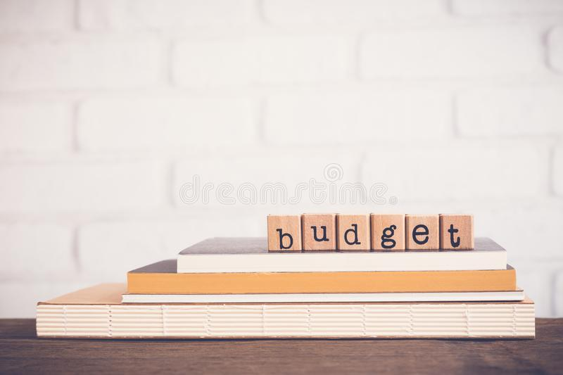 The word Budget and blank space background. stock photo