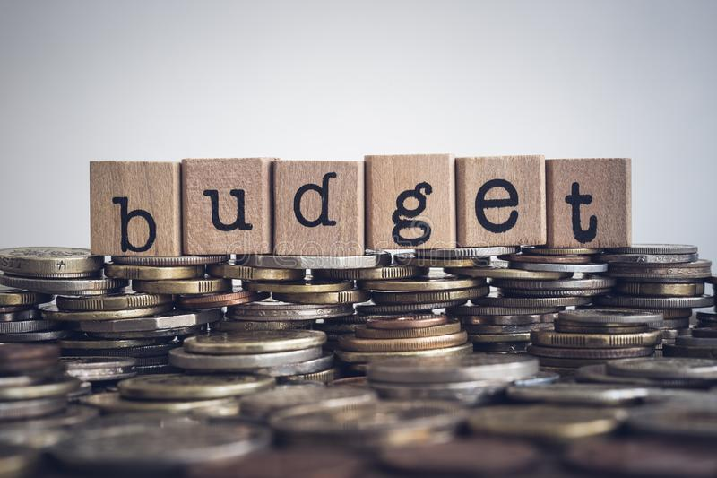 The word Budget on money and coins. royalty free stock photos