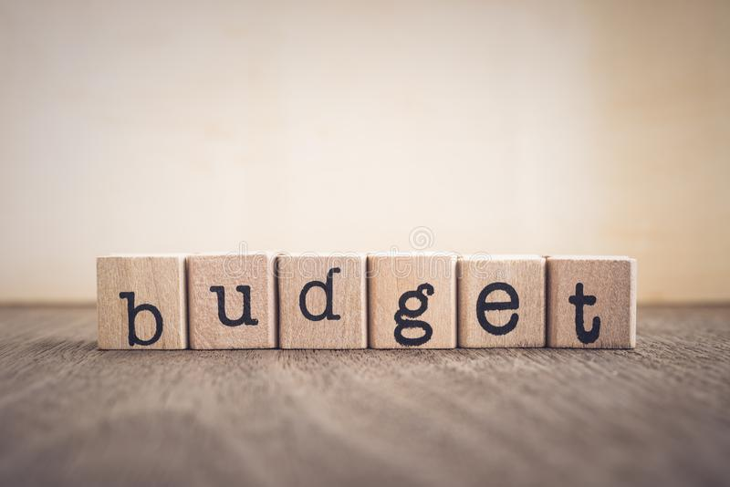 The word Budget, vintage blank space background. stock photos