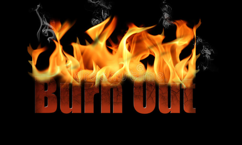 Download Word Burn Out in Fire Text stock photo. Image of leadership - 25296684