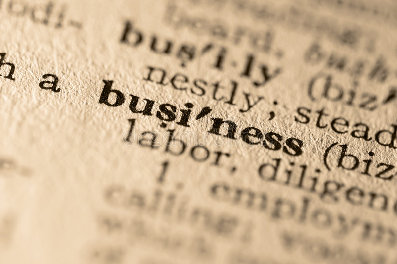 The word business. Close-up of the word business in a dictionary stock photography